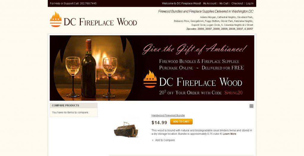 I worked with another developer in the evening hours to get DC Fireplace Wood launched using Magento as our ecommerce platform. I handled the front end design and development.