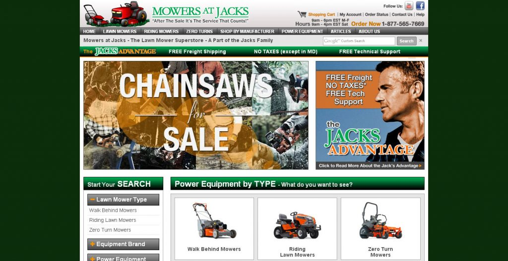Mowers at Jacks was a site I took the lead on design and front end development. The focus was on creating a site that had strong on-site SEO and made customers feel safe making large ticket item purchases. This site was a major success.