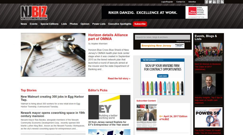 NJBIZ homepage for desktop. The dark column to the far right only loads for screens wide enough to handle it.