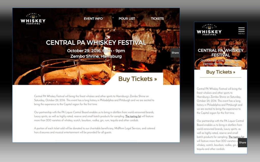 Homepage for the Central PA Whiskey Festival. The featured image has a subtle parallax effect for desktop users. The site is fully responsive and built to be used for any type of event.