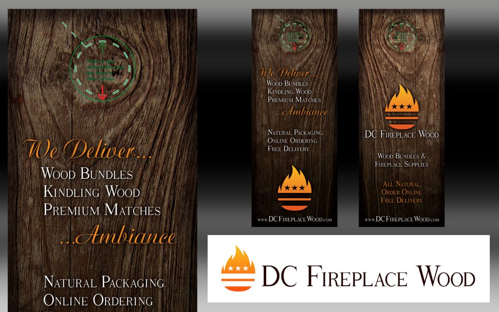Door hanger design for DC Fireplace Wood. I left the crop and guide for the doorknob as reference for this gallery. I also designed the logo. Horizontal version is also displayed.